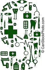 Medical font. alphabet made of medical pills. number 9