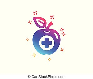 Medical food icon. Health apple sign. Vector