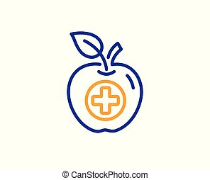 Medical food line icon. Health apple sign. Vector