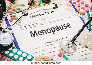 Medical form, diagnosis menopause