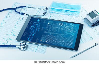 Medical full body screening software on tablet