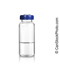 medical glass bottle with liquid isolated