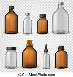 Medical glass bottles. 3d realistic brown blank packaging, pharmacy syrup bottle, aromatherapy oil cosmetic container vector mockup