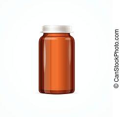 Medical Glass Brown Bottle. Vector