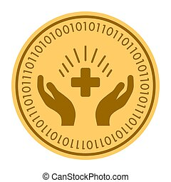 Medical Glory golden digital coin icon. Vector style. gold yellow flat coin cryptocurrency symbol. isolated on white.