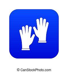 Medical gloves icon digital blue