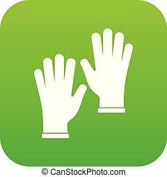 Medical gloves icon digital green