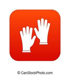 Medical gloves icon digital red