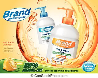 Medical grade hand wash ads, flowing clear liquid splashing...