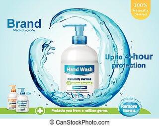 Medical grade hand wash ads