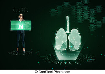 Medical green lungs interface background
