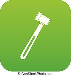Medical hammer icon digital green