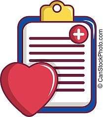 Medical health card icon, cartoon style
