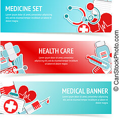Medical health care banners - Three horizontal health care...