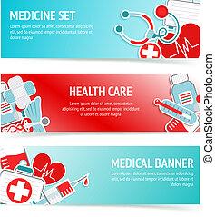 Medical health care banners - Three horizontal health care...