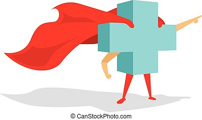 Medical health cross super hero with cape bravely pointing forward