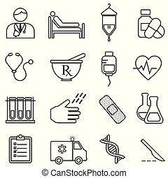 Medical, health, healthcare line icons