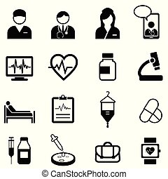 Medical, healthcare and health icon set