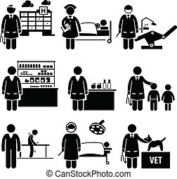 A set of human pictograms representing the jobs and professions of people in the industry of medial and healthcare. They are doctor, nurse, dentist, pharmacist, nutritionist, pediatric, physiotherapist, surgeon, and veterinarian.