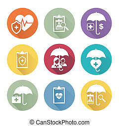 Medical Healthcare Insurance Icons with People Figures and Heart, EKG, and Insured Symbols