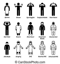 Vector artwork of man wearing gloves, eye goggles, face visor shield, hair net, gown, respirator mask, surgical mask, N95, and hazmat suit.