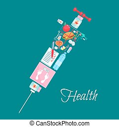 Medical healthcare vector syringe poster