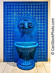ram horn in Blue mosaic tile background