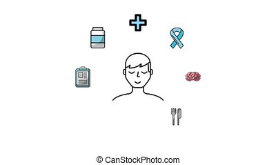 man character medical sport diet healthy lifestyle animation