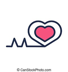 medical heart cardiology pulse half line and color style