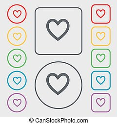 Medical heart, Love icon sign. symbol on the Round and square buttons with frame. Vector