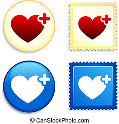 Medical Heart Stamp and Button