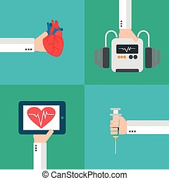 Medical heart therapy flat design