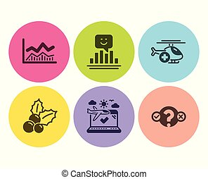 Medical helicopter, Christmas holly and Trade infochart icons set. Smile, Airplane travel and Quiz test signs. Vector
