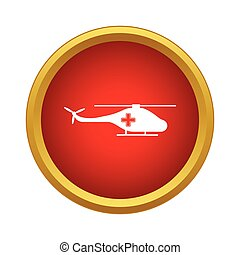 Medical helicopter icon, simple style