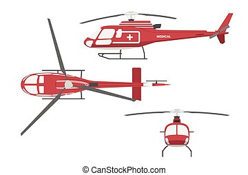 Medical helicopter in flat style on white background. Front view , side and top view.