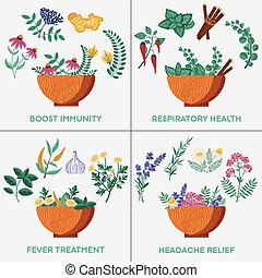 Wooden bowls with medical herbs, flowers and spices. Homeopathic plants and natural remedies to boost immunity and respiratory health. Organic flu treatments, recipes for fever and headache treatment.