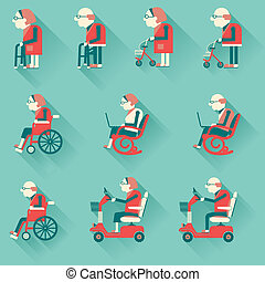 Medical hospital disabled equipments.Vector icons - Medical...