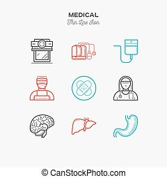 Medical, hospital, doctor, nurse, thin line color icons set, vector illustration