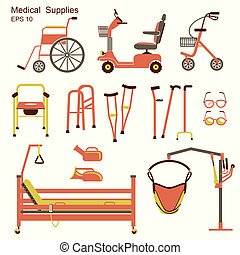 medical hospital equipment for disabled people.Vector flat...