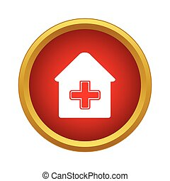 Medical house icon, simple style