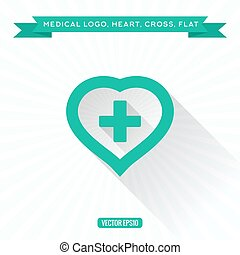 Medical icon flat heart of the cross, low Shadow