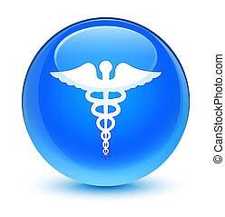 Medical icon glassy cyan blue round button