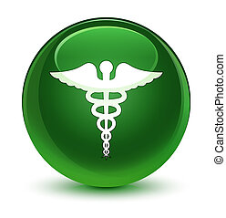 Medical icon glassy soft green round button