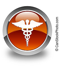 Medical icon glossy brown round button