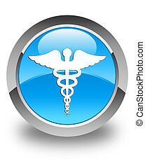 Medical icon glossy cyan blue round button