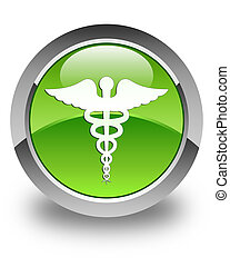 Medical icon glossy green round button
