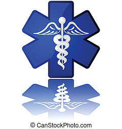 Medical icon - Glossy illustration in white and blue showing...