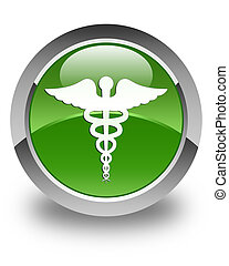 Medical icon glossy soft green round button