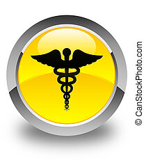 Medical icon glossy yellow round button