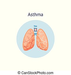 Medical icon of human asthma with lungs.